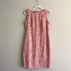 Talbots | Pink Boatneck Tweed Sheath Dress